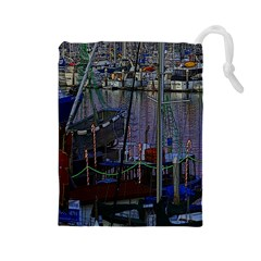 Christmas Boats In Harbor Drawstring Pouches (Large)