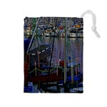 Christmas Boats In Harbor Drawstring Pouches (Large)  Front