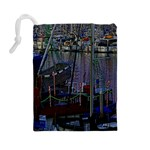 Christmas Boats In Harbor Drawstring Pouches (Large)  Back