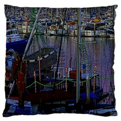 Christmas Boats In Harbor Large Flano Cushion Case (Two Sides)