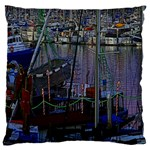 Christmas Boats In Harbor Large Flano Cushion Case (Two Sides) Front