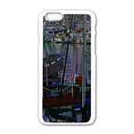 Christmas Boats In Harbor Apple iPhone 6/6S White Enamel Case Front