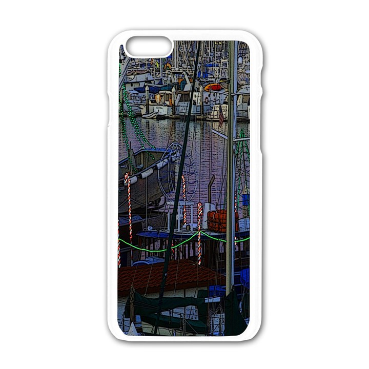 Christmas Boats In Harbor Apple iPhone 6/6S White Enamel Case