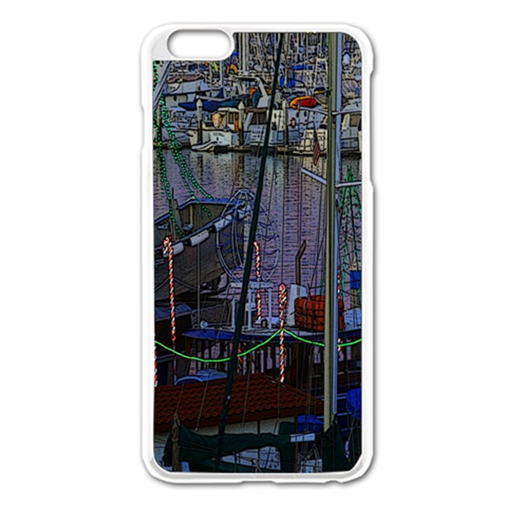 Christmas Boats In Harbor Apple iPhone 6 Plus/6S Plus Enamel White Case