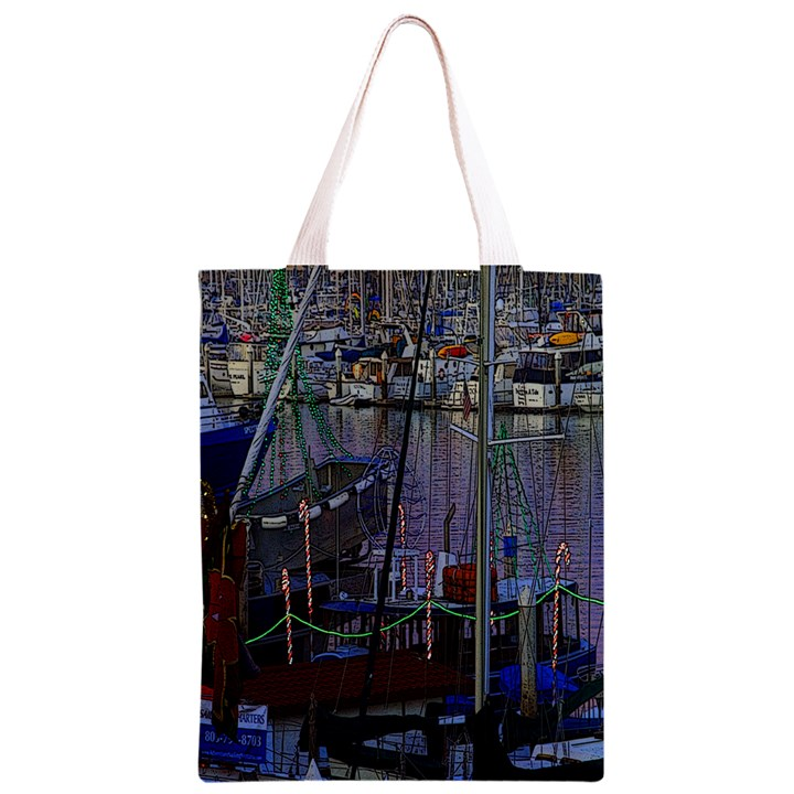 Christmas Boats In Harbor Classic Light Tote Bag