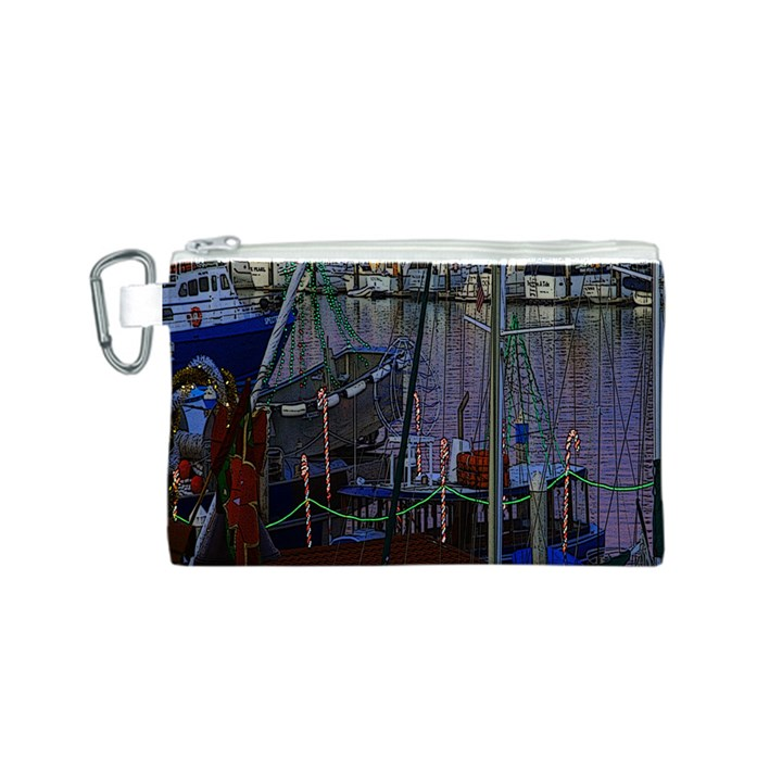 Christmas Boats In Harbor Canvas Cosmetic Bag (S)