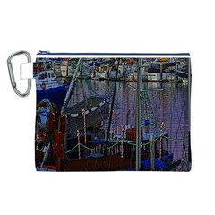 Christmas Boats In Harbor Canvas Cosmetic Bag (L)