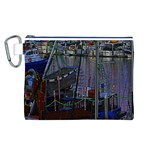 Christmas Boats In Harbor Canvas Cosmetic Bag (L) Front