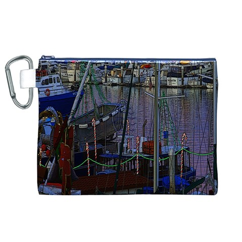 Christmas Boats In Harbor Canvas Cosmetic Bag (XL)
