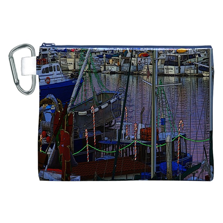Christmas Boats In Harbor Canvas Cosmetic Bag (XXL)