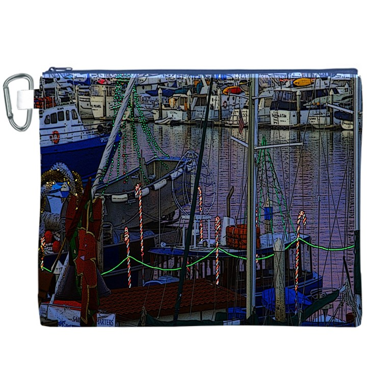Christmas Boats In Harbor Canvas Cosmetic Bag (XXXL)