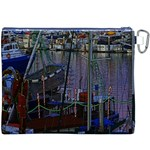 Christmas Boats In Harbor Canvas Cosmetic Bag (XXXL) Back