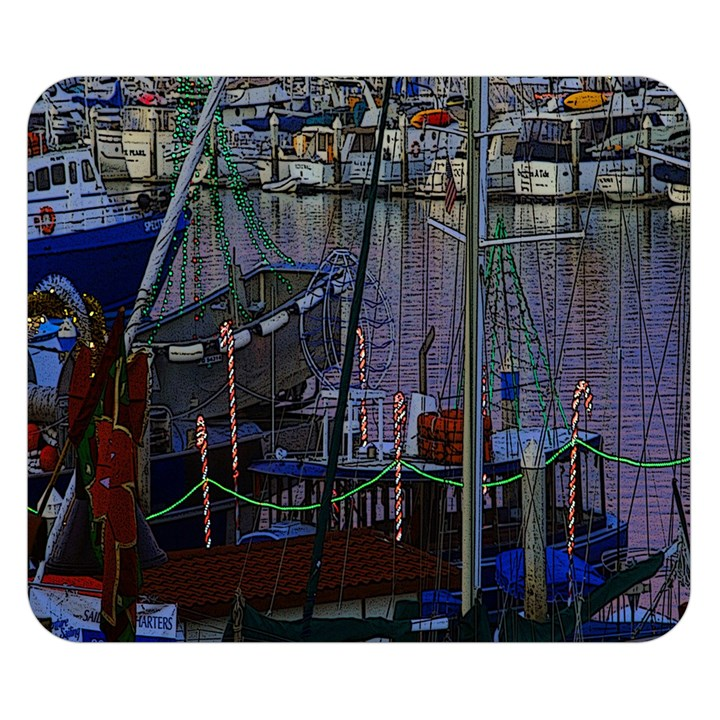 Christmas Boats In Harbor Double Sided Flano Blanket (Small)