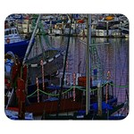 Christmas Boats In Harbor Double Sided Flano Blanket (Small)  50 x40 Blanket Back