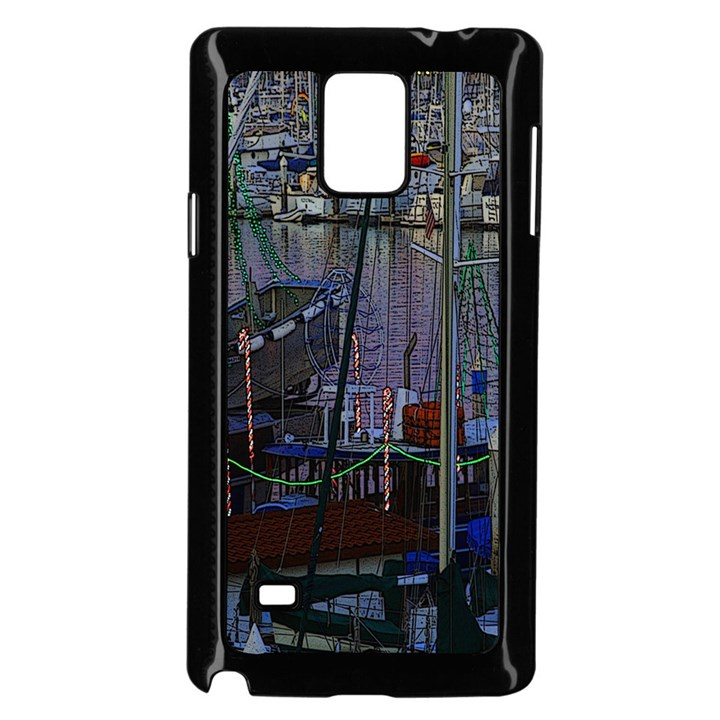 Christmas Boats In Harbor Samsung Galaxy Note 4 Case (Black)
