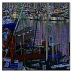 Christmas Boats In Harbor Large Satin Scarf (Square) Front