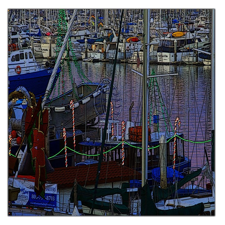 Christmas Boats In Harbor Large Satin Scarf (Square)