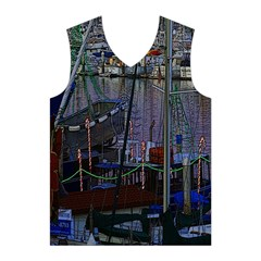 Christmas Boats In Harbor Men s Basketball Tank Top