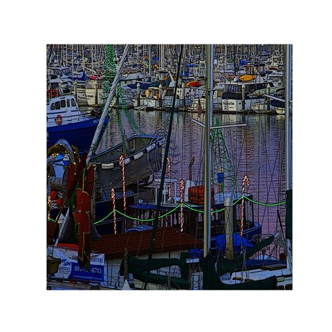Christmas Boats In Harbor Small Satin Scarf (Square)