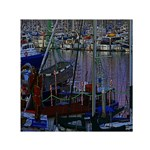 Christmas Boats In Harbor Small Satin Scarf (Square) Front