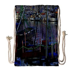 Christmas Boats In Harbor Drawstring Bag (Large)