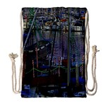 Christmas Boats In Harbor Drawstring Bag (Large) Front