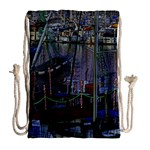 Christmas Boats In Harbor Drawstring Bag (Large) Back
