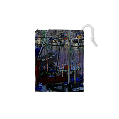 Christmas Boats In Harbor Drawstring Pouches (XS)