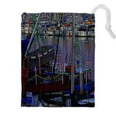 Christmas Boats In Harbor Drawstring Pouches (XXL)