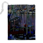 Christmas Boats In Harbor Drawstring Pouches (XXL) Back