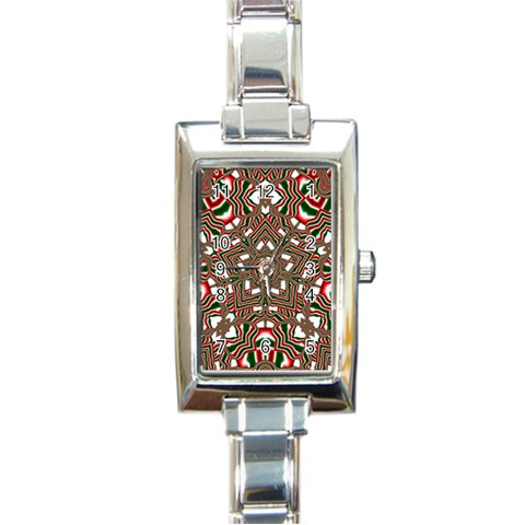 Christmas Kaleidoscope Rectangle Italian Charm Watch