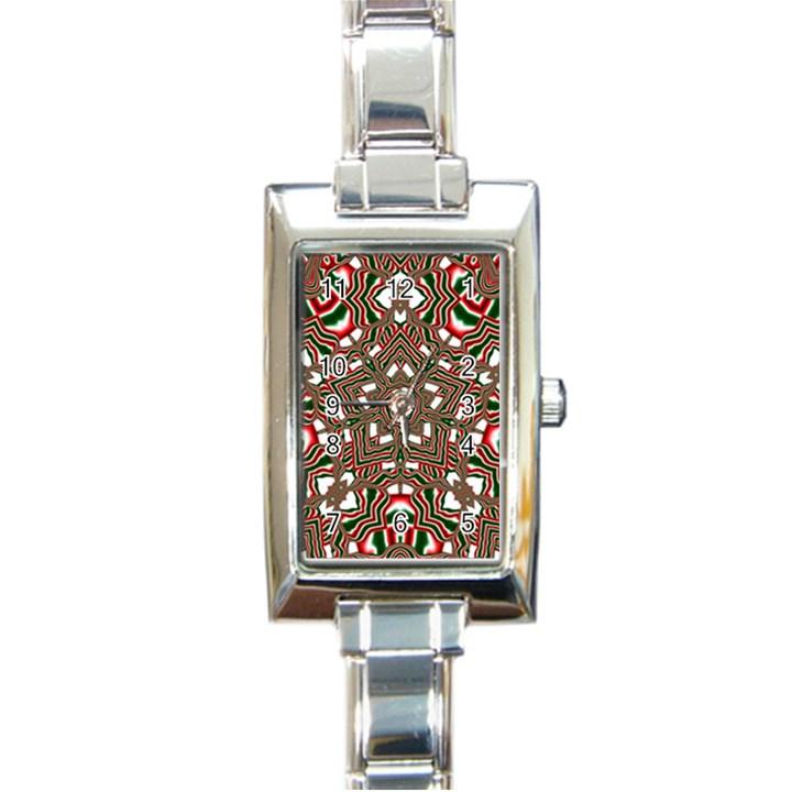 Christmas Kaleidoscope Rectangle Italian Charm Watch