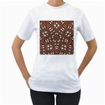 Christmas Kaleidoscope Women s T-Shirt (White) (Two Sided) Front