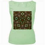 Christmas Kaleidoscope Women s Green Tank Top Front