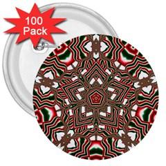 Christmas Kaleidoscope 3  Buttons (100 pack)