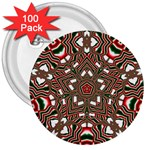 Christmas Kaleidoscope 3  Buttons (100 pack)  Front