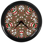 Christmas Kaleidoscope Wall Clocks (Black) Front