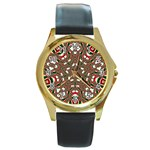 Christmas Kaleidoscope Round Gold Metal Watch Front