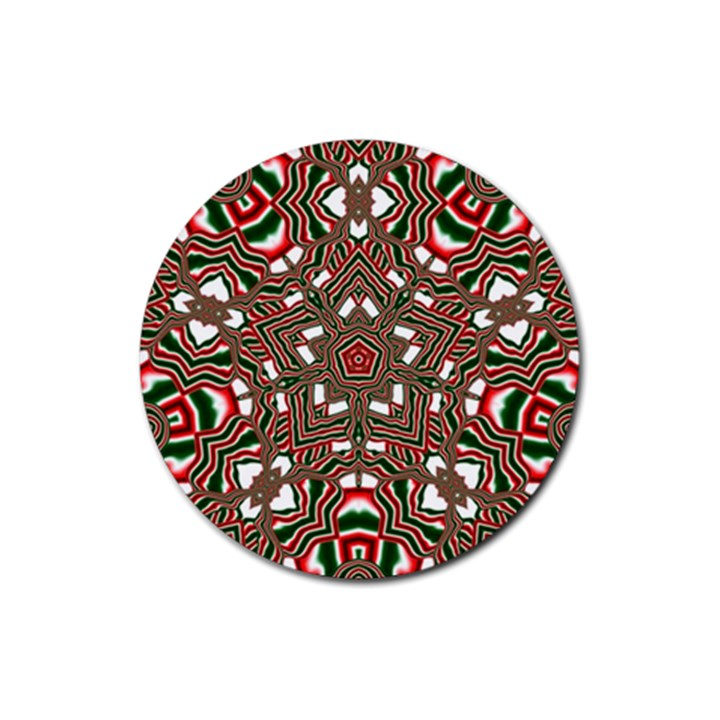 Christmas Kaleidoscope Rubber Round Coaster (4 pack)