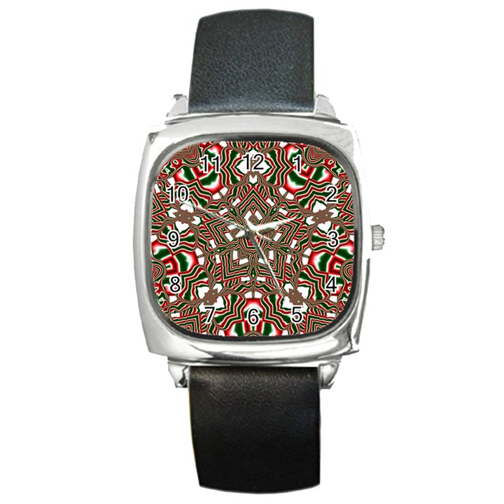 Christmas Kaleidoscope Square Metal Watch