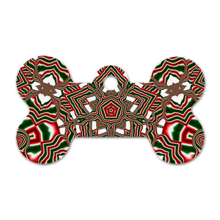 Christmas Kaleidoscope Dog Tag Bone (One Side)