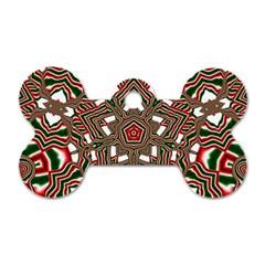 Christmas Kaleidoscope Dog Tag Bone (Two Sides)