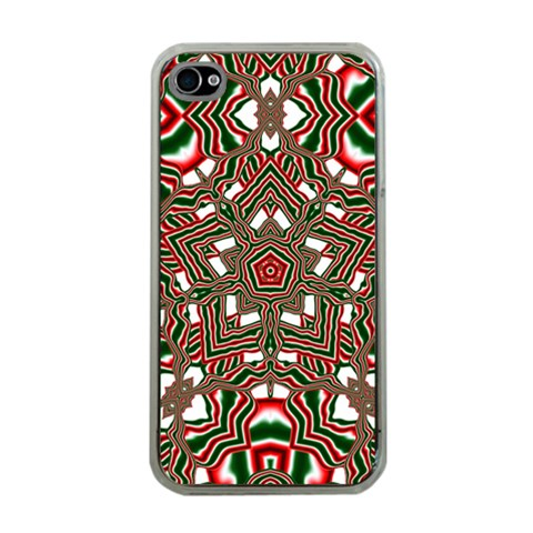 Christmas Kaleidoscope Apple iPhone 4 Case (Clear)