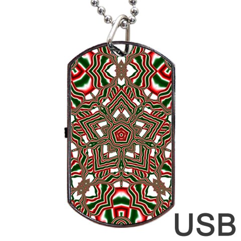 Christmas Kaleidoscope Dog Tag USB Flash (One Side)