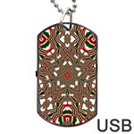 Christmas Kaleidoscope Dog Tag USB Flash (One Side) Front