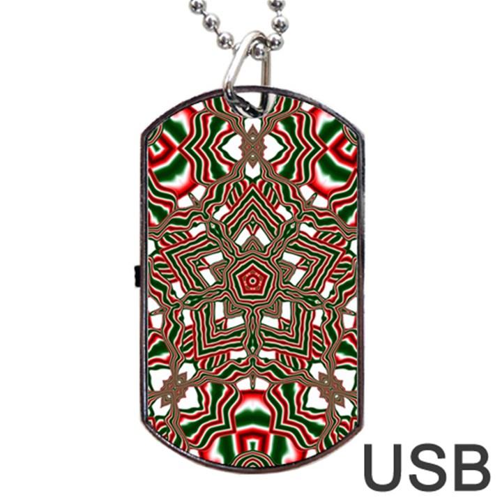 Christmas Kaleidoscope Dog Tag USB Flash (Two Sides)