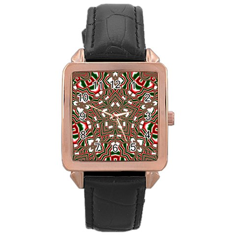 Christmas Kaleidoscope Rose Gold Leather Watch