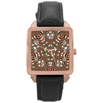 Christmas Kaleidoscope Rose Gold Leather Watch  Front