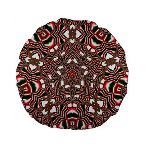 Christmas Kaleidoscope Standard 15  Premium Flano Round Cushions