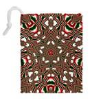 Christmas Kaleidoscope Drawstring Pouches (Extra Large) Back